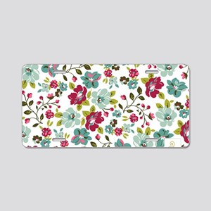 plum seed floral Aluminum License Plate