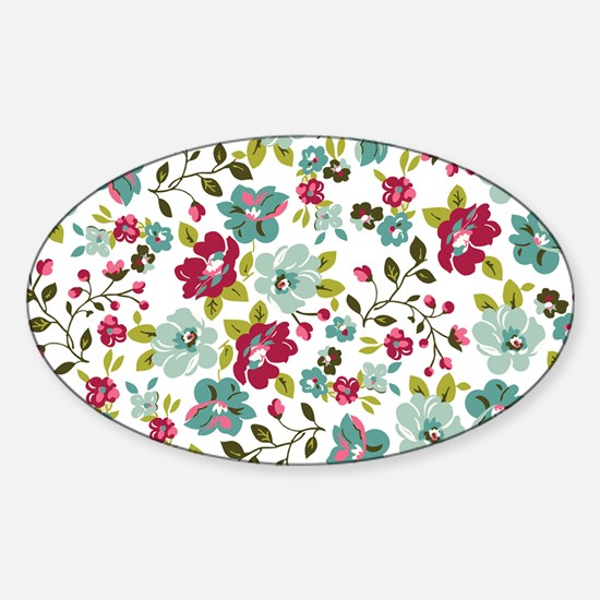 plum seed floral Sticker (Oval)