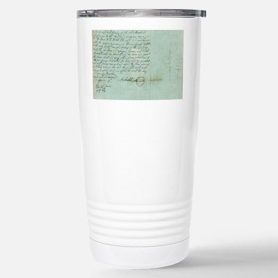 blue script Stainless Steel Travel Mug