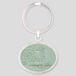 blue script Oval Keychain