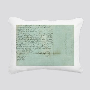 blue script Rectangular Canvas Pillow