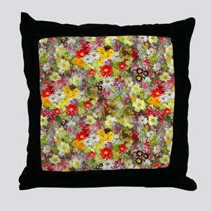 Red and Yellow Spring Flowers Throw Pillow
