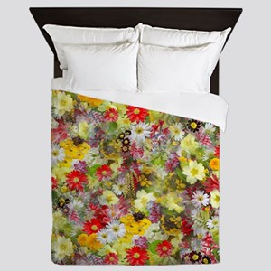 Red and Yellow Spring Flowers Queen Duvet