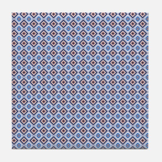 Blue and Brown Aztec Pattern Tile Coaster