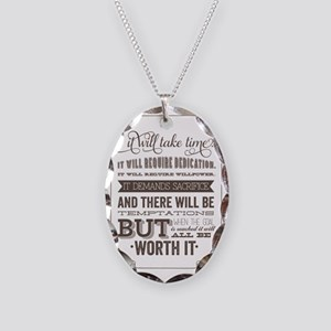 worth it quote Necklace Oval Charm