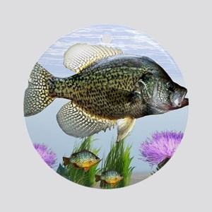 Crappie art Round Ornament