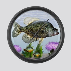 Crappie art Large Wall Clock
