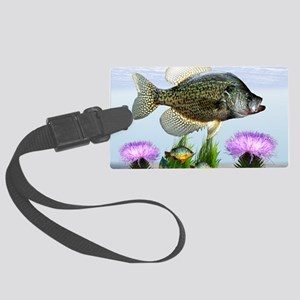 Crappie art Large Luggage Tag