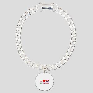 Peace Love Slovakia Charm Bracelet, One Charm