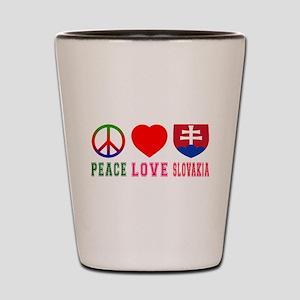 Peace Love Slovakia Shot Glass