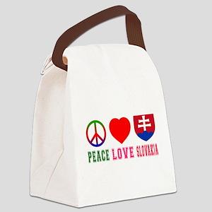 Peace Love Slovakia Canvas Lunch Bag