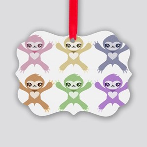Baby Rainbow Sloths Picture Ornament