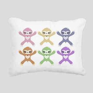 Baby Rainbow Sloths Rectangular Canvas Pillow