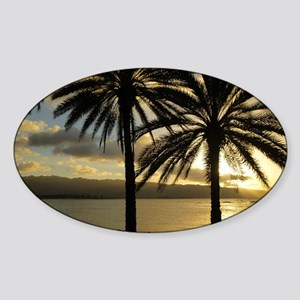 Sunset North Shore Oahu Sticker (Oval)