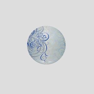Vintage Rococo Blue Damask Mini Button