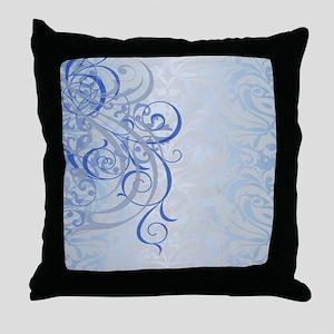 Vintage Rococo Blue Damask Throw Pillow