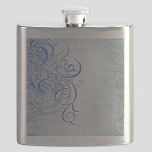 Vintage Rococo Blue Damask Flask