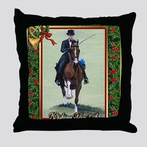 American Saddlebred Horse Christmas Throw Pillow