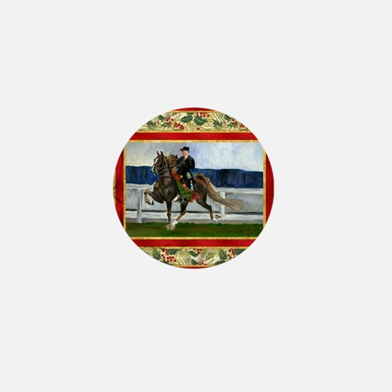 American Saddlebred Horse Christmas Mini Button