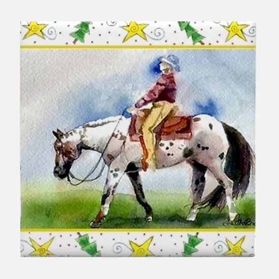 Appaloosa Horse Christmas Tile Coaster