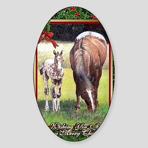 Appaloosa Horse Christmas Sticker (Oval)