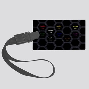 clutch B blk hexagons on blk fea Large Luggage Tag
