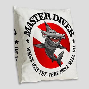 Master Diver (Hammerhead) Burlap Throw Pillow