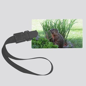 Groundhog in garden Large Luggage Tag