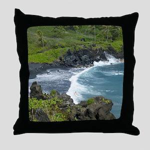 Black Sands Beach Maui Throw Pillow