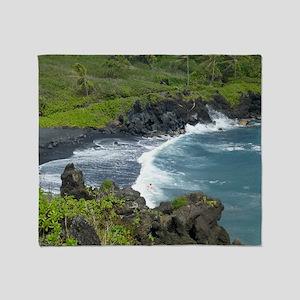 Black Sands Beach Maui Throw Blanket