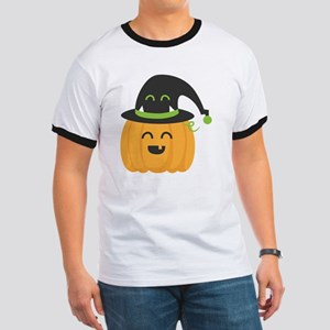 Cute and Happy Pumpkin with Monster Hat f Ringer T