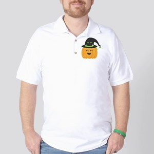 Cute and Happy Pumpkin with Monster Hat Golf Shirt