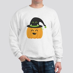 Cute and Happy Pumpkin with Monster Hat Sweatshirt