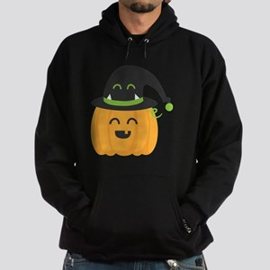 Cute and Happy Pumpkin with Monster  Hoodie (dark)