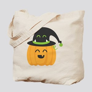 Cute and Happy Pumpkin with Monster Hat f Tote Bag