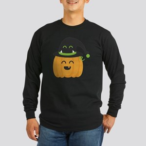 Cute and Happy Pumpkin wi Long Sleeve Dark T-Shirt