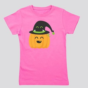Cute and Happy Pumpkin with Monster Hat Girl's Tee