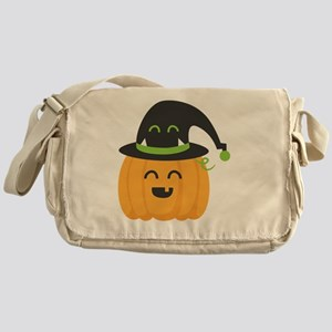 Cute and Happy Pumpkin with Monster  Messenger Bag