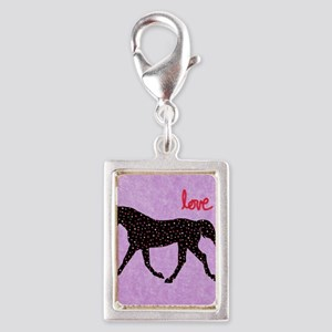 Horse Love and Hearts Silver Portrait Charm