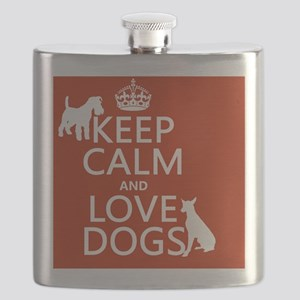 Keep Calm and Love Dogs Flask