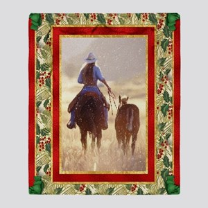 Cowgirl Mare And Foal Christmas Throw Blanket