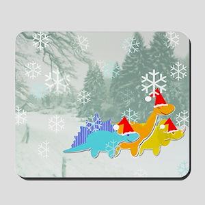 Cute Cartoon Dinosaurs Christmas Mousepad
