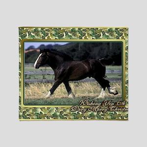 Shire Draft Horse Christmas Throw Blanket
