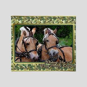 Norwegian Fjord Horse Christmas Throw Blanket