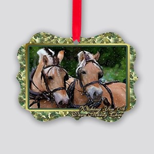 Norwegian Fjord Horse Christmas Picture Ornament