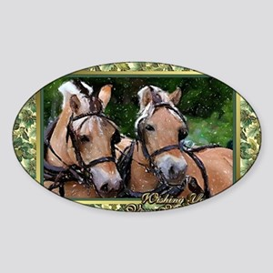 Norwegian Fjord Horse Christmas Sticker (Oval)