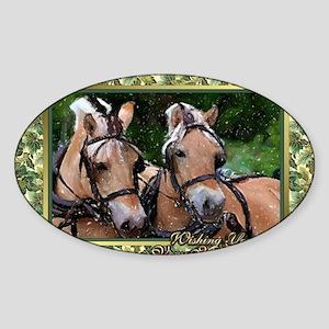 Norwegian Fjord Horse Christmas Sticker (Oval)