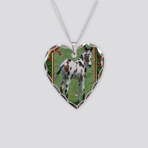 Spotted Mule Foal Christmas Necklace Heart Charm