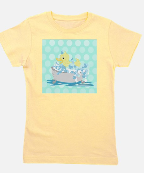 Duck in Tub Shower Curtain (Teal Dot) Girl's Tee