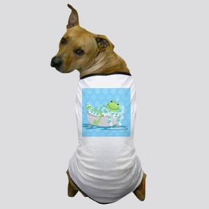 Frog in Tub Shower Curtain (Blue) Dog T-Shirt